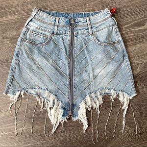True religion crystal embellished denim skirt